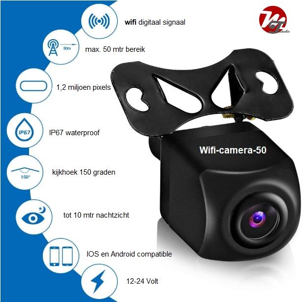 Wifi HD camera-50 met nummerplaathouder